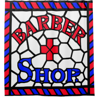 Barbershop Stained Glass Shower Curtain