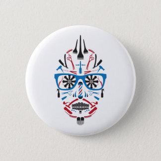 barbershop sugar skull button