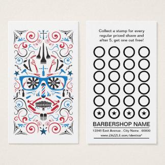 barbershop sugar skull punch card