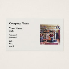 Barbershop With Coat Rack Business Card