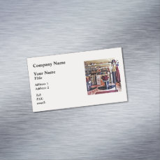 Barbershop With Coat Rack Business Card Magnet