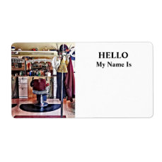 Barbershop With Coat Rack Label