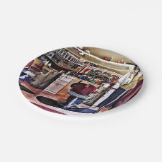 Barbershop With Coat Rack Paper Plate