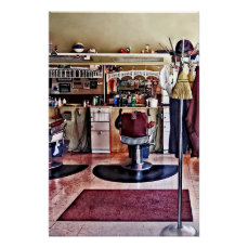Barbershop With Coat Rack Poster