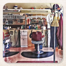 Barbershop With Coat Rack Square Paper Coaster
