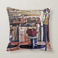 Barbershop With Coat Rack Throw Pillow