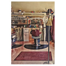 Barbershop With Coat Rack Wood Poster