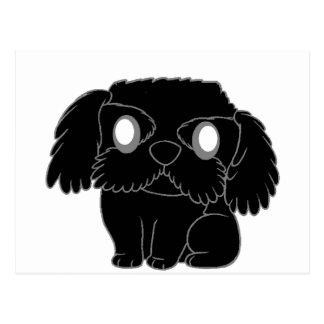 barbet cartoon black postcard