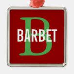 Barbet Monogram Design Christmas Ornament