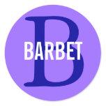 Barbet Monogram Design Classic Round Sticker
