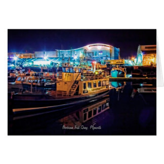 Barbican Fish Quay by Night - blank notelet Stationery Note Card