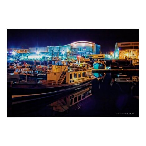 Barbican Fish Quay by Night, Plymouth poster