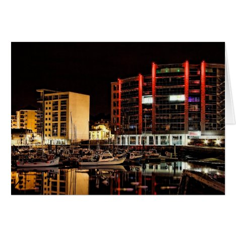 Barbican North Quay by Night - blank notelet