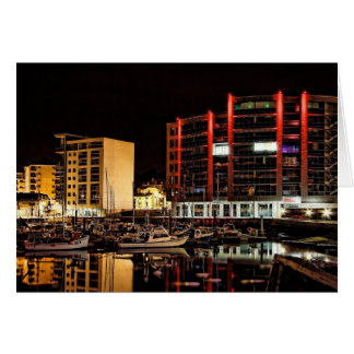 Barbican North Quay by Night - blank notelet Stationery Note Card