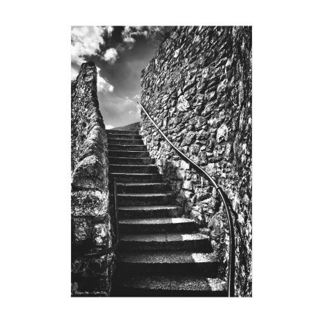 Barbican Steps, fine art black and white Canvas Print