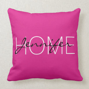 Barbie pink color home monogram throw pillow
