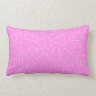 BARBIE PINK HAND-DRAWN HEARTS THROW PILLOW