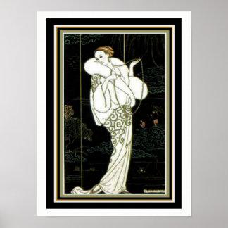 "Barbier ""White Fur"" Art Deco Fashion Print 12 x 16"