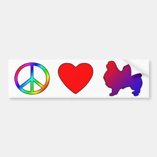 Barbillas del japonés del amor de la paz etiqueta de parachoque