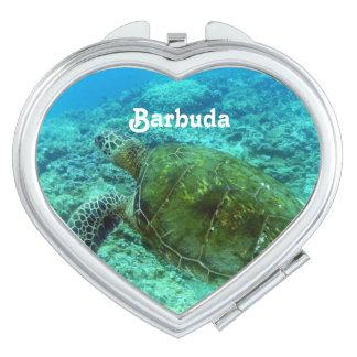Barbuda que bucea espejos compactos