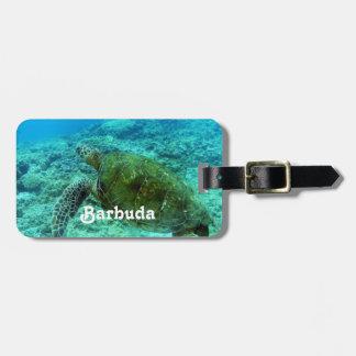 Barbuda que bucea etiqueta de maleta