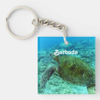 Barbuda que bucea llavero cuadrado acrílico a una cara