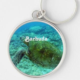 Barbuda que bucea llavero redondo plateado