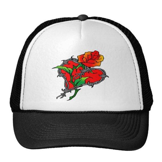 Barbwire Heart & Rose Tattoo Trucker Hat