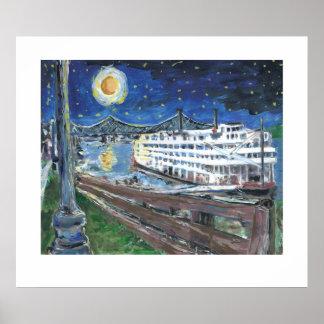 Barca de la noche estrellada impresiones