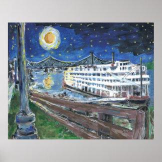 Barca de la noche estrellada poster
