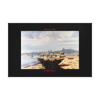 Barca en la playa impresiones en lona estiradas