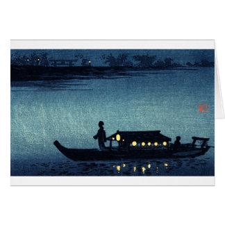 Barca japonesa iluminada por la luna tarjeta de felicitación