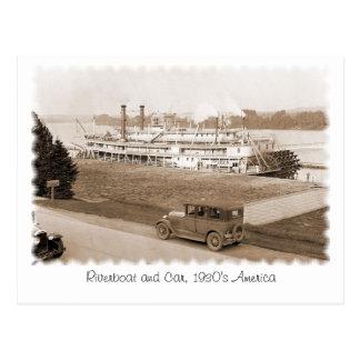 Barca y coche, los años 30 América Tarjeta Postal
