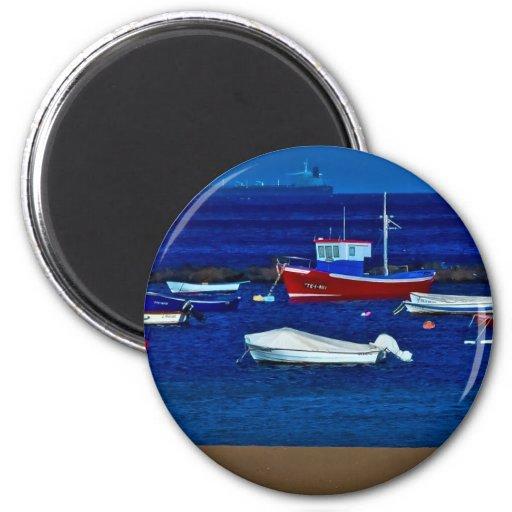 Barcas pescadores imán de frigorifico