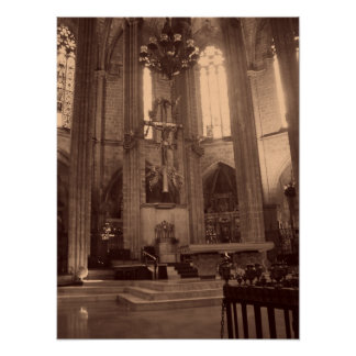 Barcelona Cathedral Sepia Poster