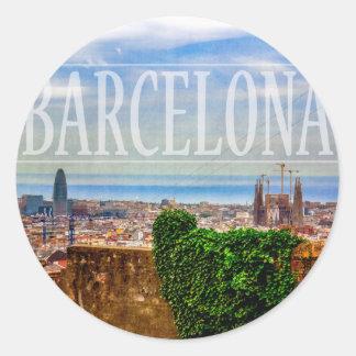 Barcelona city classic round sticker