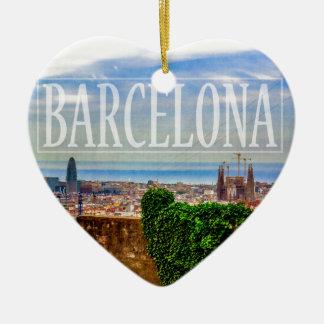 Barcelona city Double-Sided heart ceramic christmas ornament
