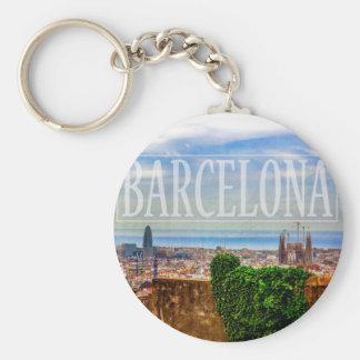 Barcelona city basic round button keychain