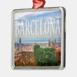 Barcelona city metal ornament