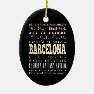 Barcelona City of Spain Typography Art Ceramic Ornament