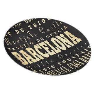 Barcelona City of Spain Typography Art Dinner Plate