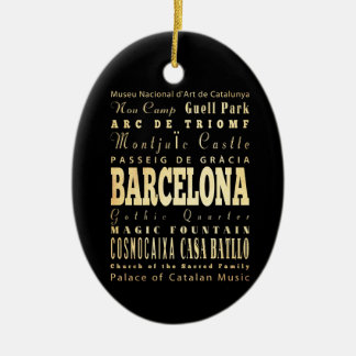 Barcelona City of Spain Typography Art Double-Sided Oval Ceramic Christmas Ornament