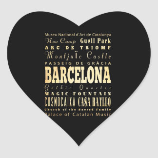 Barcelona City of Spain Typography Art Heart Sticker