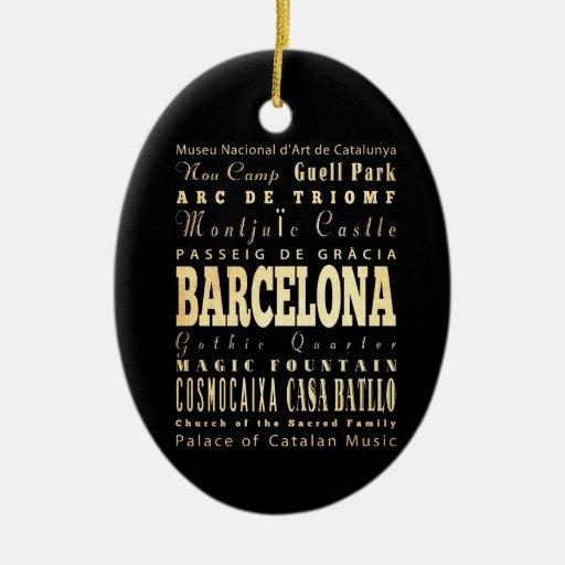 Barcelona City of Spain Typography Art Christmas Ornaments