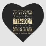 Barcelona City of Spain Typography Art Heart Sticker