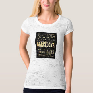 Barcelona City of Spain Typography Art T Shirt