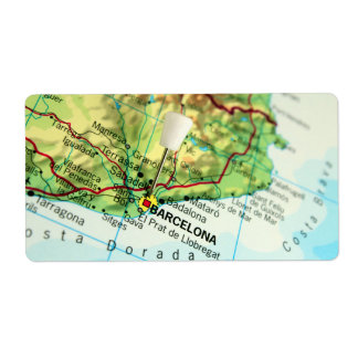 Barcelona City Pin Map Label