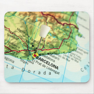 Barcelona City Pin Map Mouse Pad