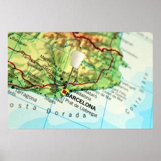 Barcelona City Pin Map Print
