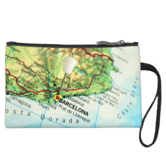 Barcelona City Pin Map Suede Wristlet
